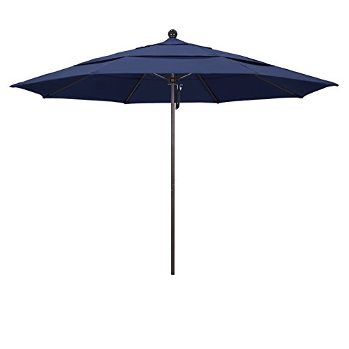 California Umbrella 11' Round Aluminum/Fiberglass Umbrella, Pulley Lift, Bronze Pole, Navy Blue Olefin Fabric by California Umbrella