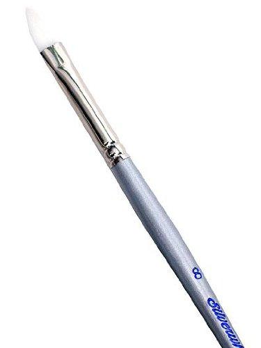 Silver Brush 1502-4 Silverwhite Long Handle White Taklon Brush, Bright, Size 4