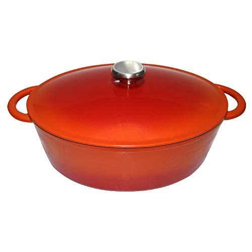 MikeGarden 6.8 Quart Cast Iron Oval Dutch Oven Orange