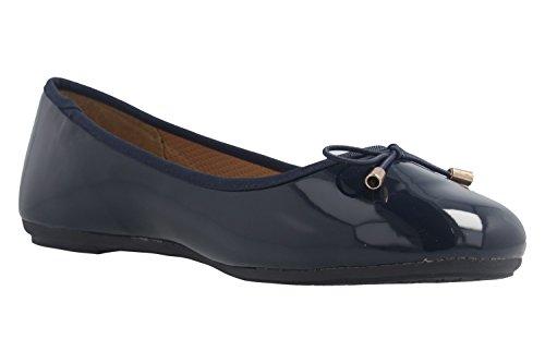 Fitters Footwear Women's Ballet Flats blue Navy Patent E7d7kybbe