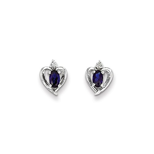 Mia Diamonds 925 Sterling Silver (.01cttw) Simulated Sapphire and Diamond Earrings (10mm x 7mm) by Mia Diamonds and Co.