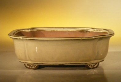 Bonsai Boy's Beige Ceramic Bonsai Pot - Rectangle 10 x 8 x 3 125