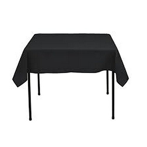 RDS 1 Set Of 36'' X 36'' Black Square Polyester Table Cloth For Wedding Party & Venue Decoration (Premier Square Tablecloth)