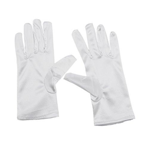 Greenmoe Women's Elegant Short Finger Formal Party Wrist Length Gloves White