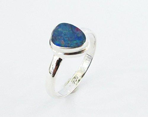 Sterling Australian Opal Doublet - handmade 925 sterling silver ring with genuine australian fire opal size 9, doublet opal ring