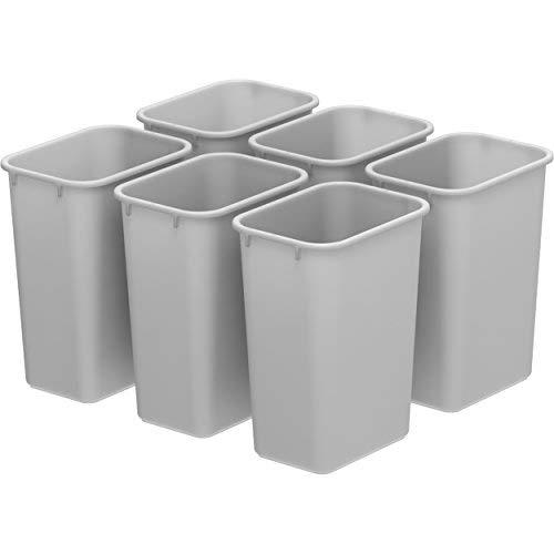 MattsGlobal Storex Medium Waste Basket Black (6 units/pack) (Grey)