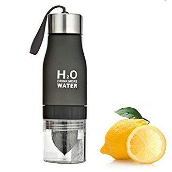 (LoCo Motive H2O Lemon/Fruit Infuser Water Bottle - New Version - Leak Proof - BPA Free (Black))