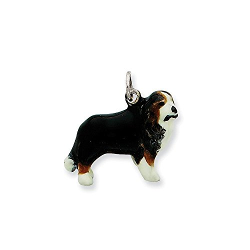 .925 Sterling Silver Enameled Bernese Mountain Dog Charm Pendant