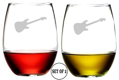 - Guitar Stemless Wine Glasses | Etched Engraved | Perfect Fun Handmade Present for Everyone | Lead Free | Dishwasher Safe | Set of 2 | 4.25