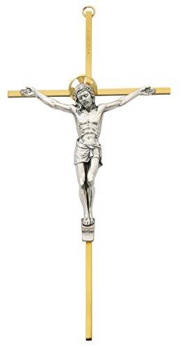 10 Inch Tutone Brass Crucifix (79-42622)