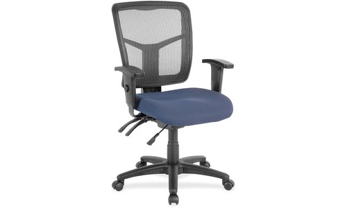 Lorell Swivel Mid-Back Chair, Black/Blue, 25-1/4 by 23-1/2 by 40-1/2-Inch