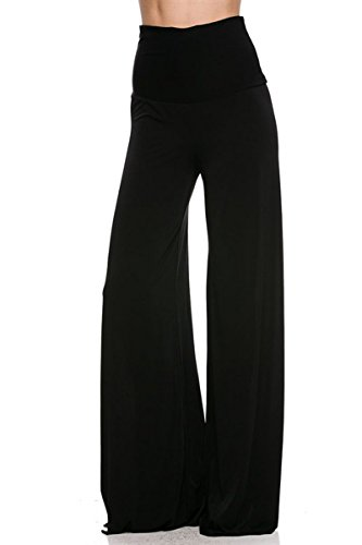 On Trend Women's High Waist Wide Leg Pattern Palazzo Pants (Large, Black) (Womens Disco Clothes)
