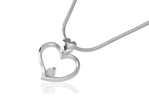 VINANI Anhänger Zirkonia Herz mit Kette 45 cm Silber 925 AZH45