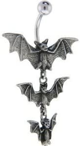 Dynamique Gothic Tri-Vampire Bats Dangle 316L Stainless Steel Belly Button Ring