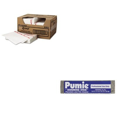 KITCHI8252UPM12 - Value Kit - Pumie Scouring Stick, 6 x 3/4 x 1 1/4, Dozen (UPM12) and Chix Food Service Towels, White 13.5 x 21 (CHI8252) by Pumie