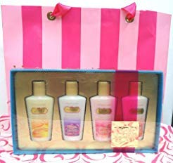 Victoria Secret Lotion 4 Piece Gift Set Such a Flirt, Amber Romance, Love Spell & Pure Seduction