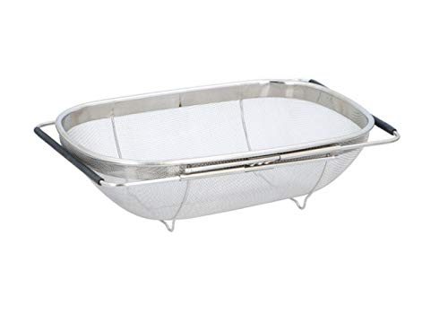 Invero Colador de escurridor de Agua Acero Inoxidable Ajustable para Fregadero con Asas Extensibles Ideal para enjuagar y Lavar Frutas Verduras y m/ás