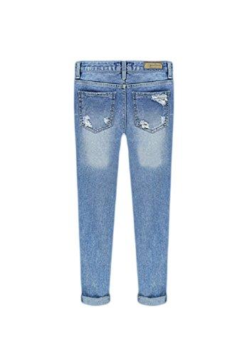 Donne Occasionale Strappato Lunga Matita Le Buchi Jeans Blu Vita Metà RvPxqnwH