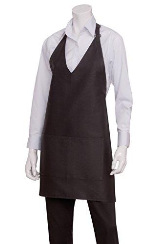 Chef Works Unisex V-Neck Tuxedo Apron, Black 32-Inch Length by 30-Inch Width ()