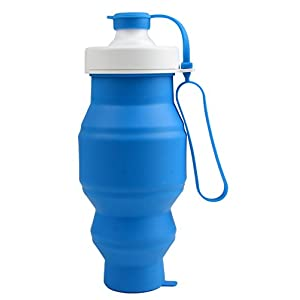 GUBANG Outdoor Sports Water Bottle .5.2 Ounces Of 520ml Silicone Folded Water Bottle, Outdoor Sports Silicone Bottles, No BPA Silicone Material Production. FDA Certification (blue)
