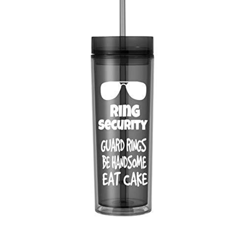 Ring Bearer Gifts for Boys Ring Security Wedding Cup with Straw 16oz Black 0085]()