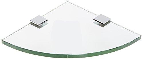(Spancraft Glass Quarter Round Glass Shower Shelf, Chrome Bracket, Square Clamp, 8