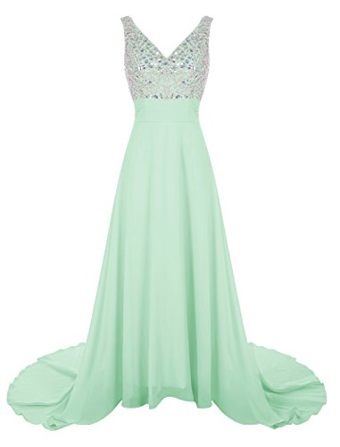 Wedtrend Women's Long Chiffon Prom Dress with Train Bridesmaid Dress with Beads WT12007 Mint 24W