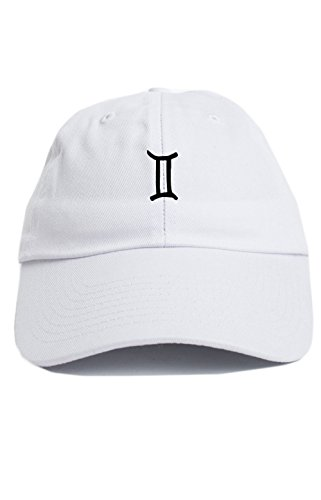 gemini-zodiac-sign-symbol-unstructured-baseball-dad-hat-new-white
