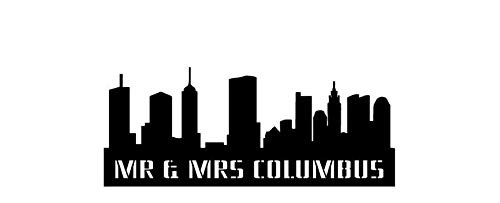Columbus Skyline Personalized Wedding Cake Topper & Keepsake For the City Wedding, Columbus City Skyline and your name or phrase ()