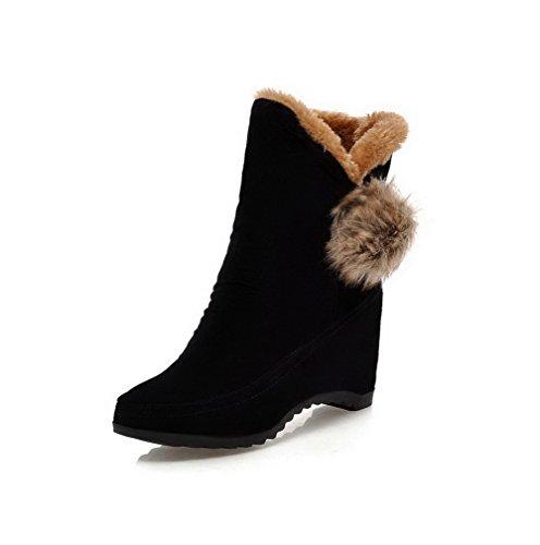 Allhqfashion Dames Geïmiteerd Suède Low-top Stevige Pull-on Hoge Hakken Laarzen Zwart