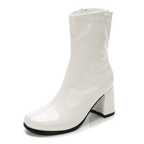 LIURUIJIA Women's Go Go Boots Over The Knee Block Heel Zipper Boot White-36-GM -