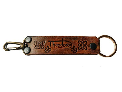 3D Genuine Leather Keychain, Key Holder, Key Ring, Key Chain Ring Fob, Swivel Clasp Attaches to Belt Loops, Hand-Carved, Hand-Painted, Leather Carving, Ancient Hieroglyphs, Antique Bronze, Theodoros