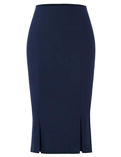 (MUXXN Womens Sheer Vintage Plain Below Knee Skirts Sexy Club Skirt (Blue XL))