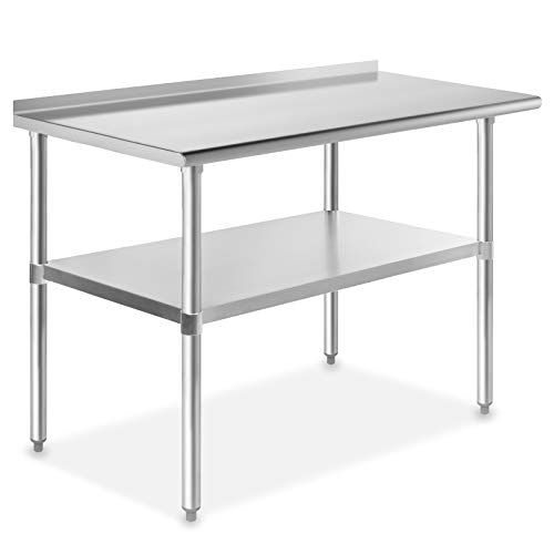 GRIDMANN NSF Stainless Steel Commercial Kitchen Prep & Work Table with Backsplash - 48 in. x 24 in. from GRIDMANN