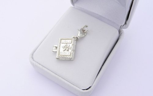 Opening Bible Charm (Sterling Silver Holy Bible Charm - Opening Locket)