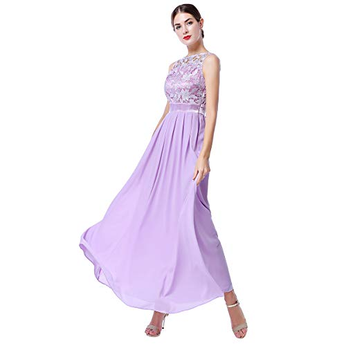 Women Floral Lace Chiffon Wedding Bridesmaid Long Dress Sleeveless Crochet Cocktail Evening Party Formal Ball Gown Lilac S