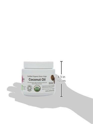 Reines Rohes Bio Kokosöl 500ml (460g) Extra Vergine Kaltgepresst Unraffiniert Bio - von Soil Association Biologisch Zertifiziert -PINK SUN Coconut Oil Biologisches