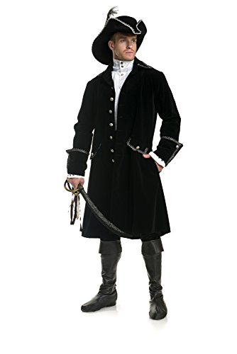 Charades Men's Deluxe Black Pirate Jacket with Pockets black/silver, -
