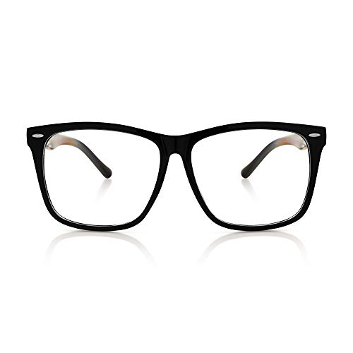 5zero1 Fake Glasses Big Frame Clear For Women Men Fashion Classic Retro Costumes Party Halloween, Matte Black ()