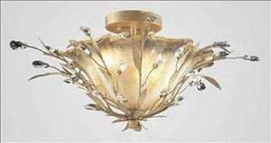 Elk 8069/2 2-Light Semi Flush In Russet Beige and Crystal Droplets