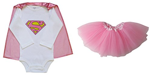 [So Sydney Baby, Infant Girl Superhero Onesie with Detachable Cape & Tutu Skirt (M (6-12 Months), Supergirl -] (Supergirl Costumes Pink)