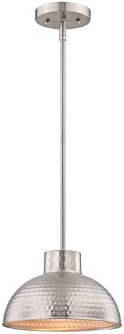 Westinghouse Lighting Brushed Nickel 6309600 One-Light Indoor Pendant, Hammered Finish