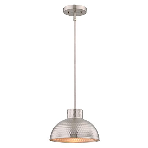 6309600 One-Light Indoor Pendant, Hammered Brushed Nickel Finish - Brushed Nickel Mini Dome Pendant