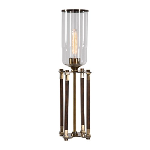 (Mid Century Modern Wood Brass Hurricane Table Lamp | Open Base Geometric)