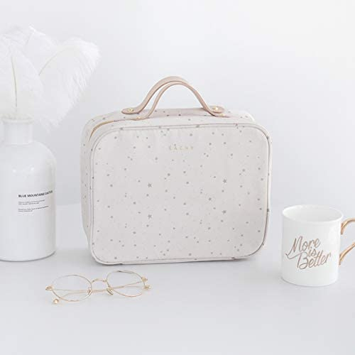 QYSZYG デスクトップ化粧品収納ボックス多層スーツケース旅行用化粧品バッグ付きポータブル取り外し可能なポリエステル素材快適な感じ金属ジッパーノイズ (Color : B)