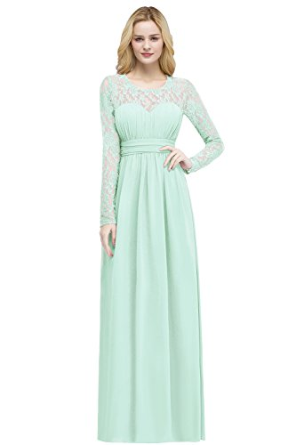MisShow Women Lace Applique Illusion Back A Line Dinner Wedding Party Gowns Formal Mint Green