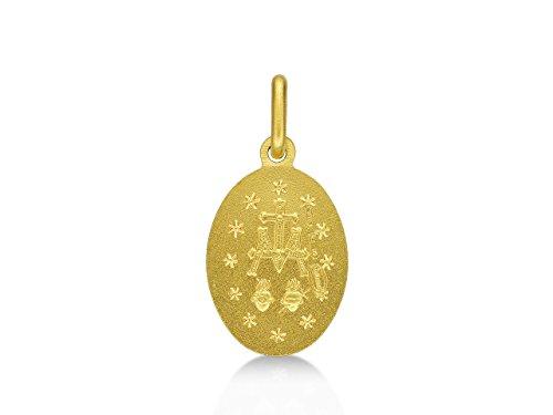 Médaille Vierge Marie Or jaune 750/1000 18 carats 15 mm (écrin inclus)