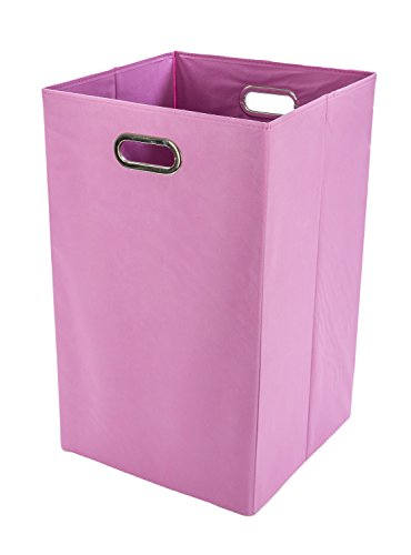 Modern Littles Folding Laundry Basket with Handles – High-Strength Polymer Construction – Folds for Easy Storage and Transportation – 13.75 Inches x 13.75 Inches x 22.75 Inches – - Pink Hamper Clothes
