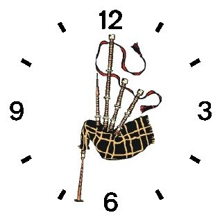 Scottish Bagpipes or Bag Pipes - Musical Instrument - Music Theme - WATCHBUDDY DELUXE TWO-TONE THEME WATCH - Arabic Numbers - Black Leather Strap-Size-Women's Size-Small