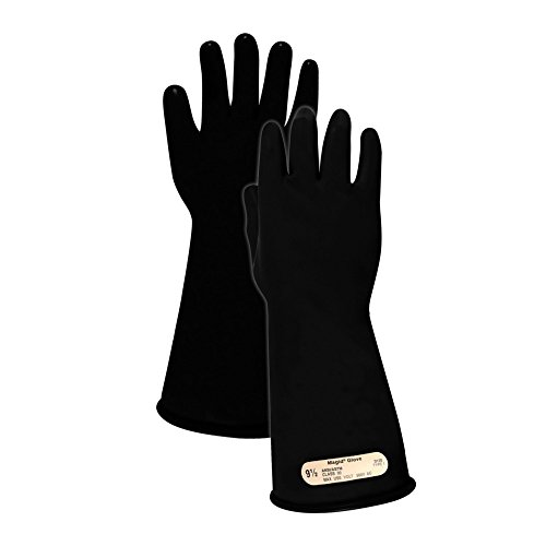 """Magid Glove & Safety M0014B85 A.R.C. Natural Rubber Latex Electrical Insulating Gloves with Straight Cuff, Class 00, Size 8.5, 14"""" Length, Black (1 Pair)"""